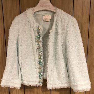 Kate Spade Tweed Light Sea Foam Embellished Jacket